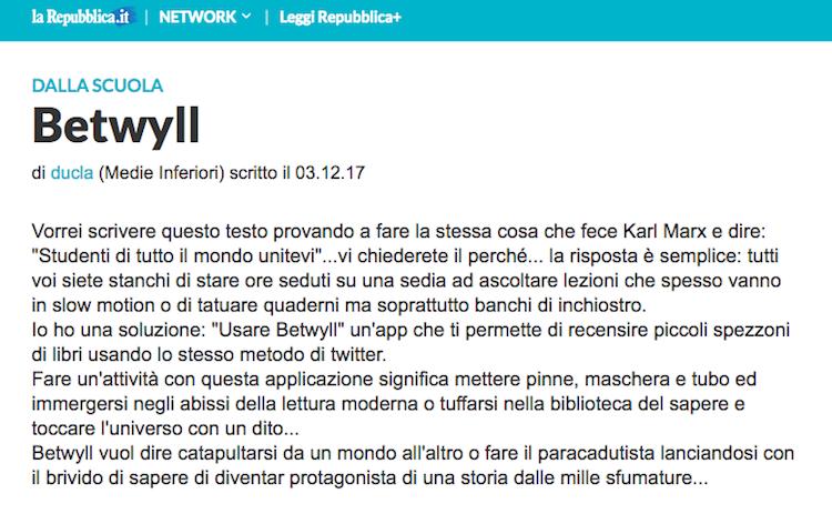 Lettura su Betwyll_Repubblica Scuola